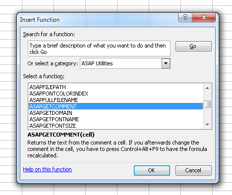 The functions from ASAP Utilities are now listed in their own group in Excel 2003