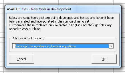 Start the new 'Chemical Equation' tool