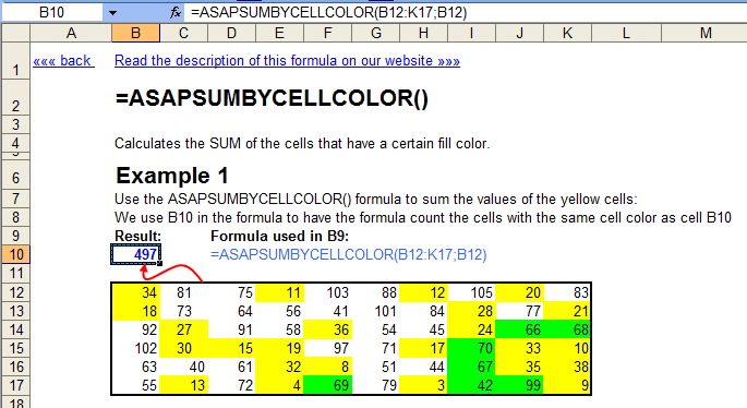 Calculate the sum of cells with a certain color