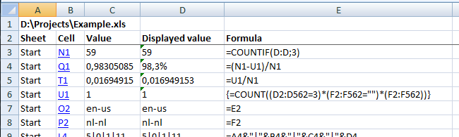 Report the formulas used in the worksheets in your workbook