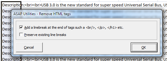 Remove/replace all HTML tags in the selected cells...