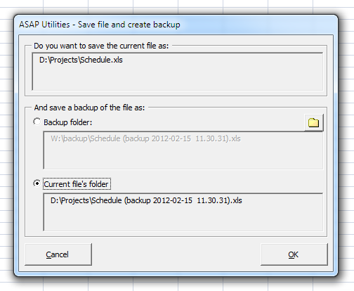 Save file and create backup in backup folder or current file's folder