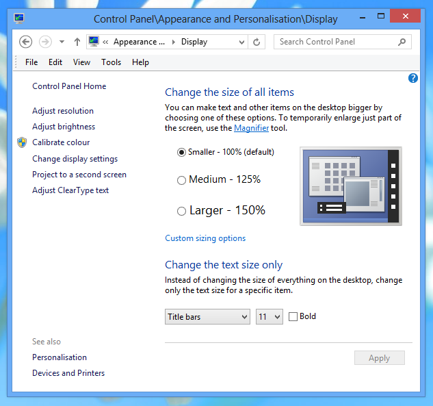 Scale better when Windows display setting is 125% or 150%