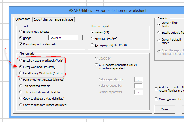 Export selection in Excel's xlsx or xlsb file format