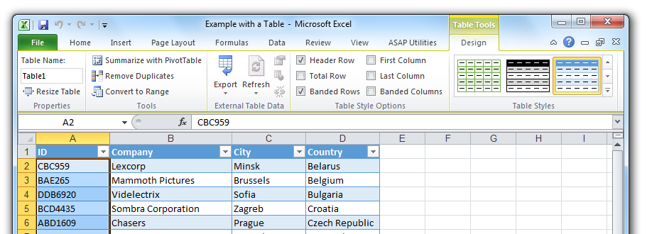 Vertical Data Table Excel Data in Tables in Excel
