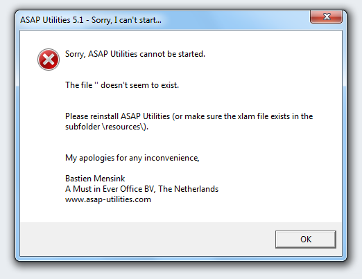 Sorry, ASAP Utilities cannot be started. The file '' doesn't seem to exist.