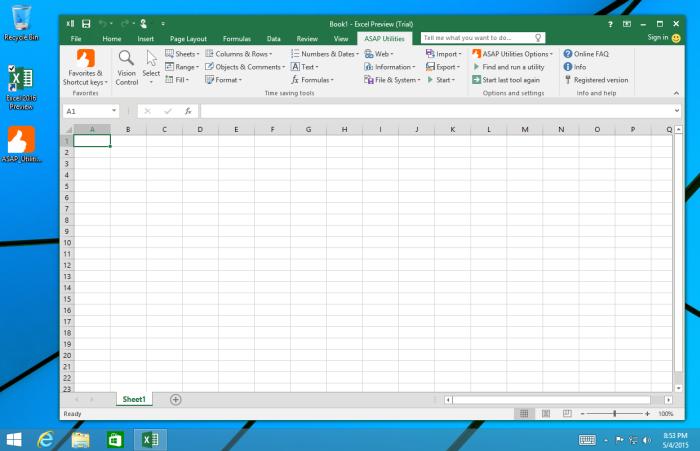 Excel 2016 - ASAP Utilities 5.5.1 - Windows 8.1