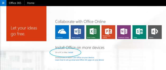 Office 365 install on a PC or Mac - Install