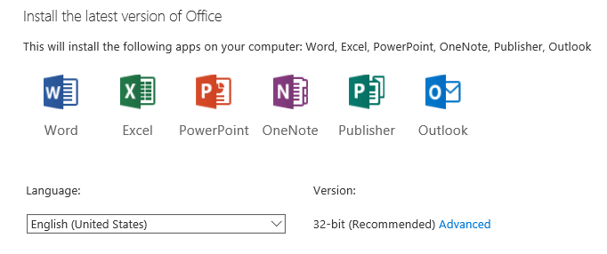 Office 365 install the latest version of Office - 32-bit (Recommended)