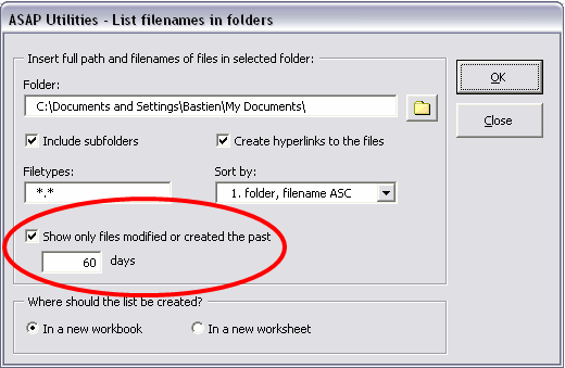 Screenshot: List filenames in folder