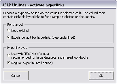 Activate hyperlinks (create from cell values)...