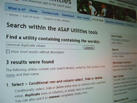Search within the ASAP Utilities tools