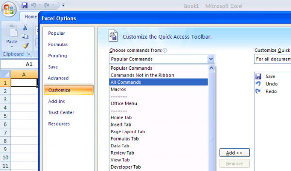 quick access toolbar excel