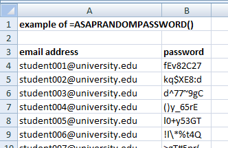 Example of the function =asaprandompassword()