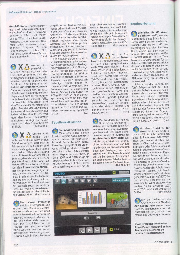 ASAP Utilities mentioned in the German magazine C't in May 2010