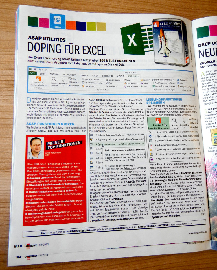 ComputerBild 12/2013 15.5.2013 - Article about ASAP Utilities