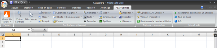 French Excel 2007 with ASAP Utilities in its menu