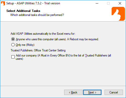 Add ASAP Utilities automatically to the Excel menu